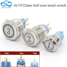 Metal button switch 16MM19MM22MM reset button switch instantaneous digital 1.2.3.A.B.C elevator button switch(China)