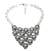 Set in Cube Pearl Cluster Couture Necklace Big Silver Pendant Beaded Long Encrusted Crystal Choker Wedding Jewelry For Women(China)