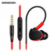 Showkoo Universal Sport 3.5mm Headset with Microphone Sweatproof Headphones for PC Mobile Phone Auriculares Cable Ecouteur Casco(China)