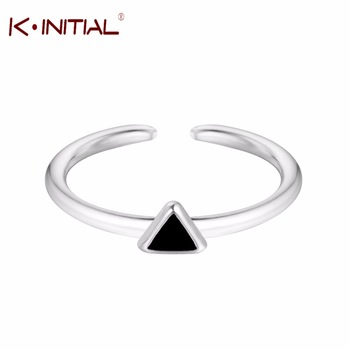 Kinitial 925 Sterling Silver Black Triangle Rings for Women  Girls Lovely Gift Statement Jewelry Adjustable Size Geometric Ring