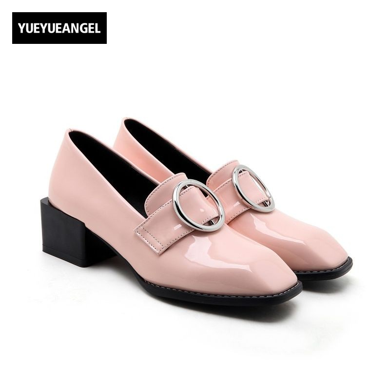 2017 New Style Comfort Block Thick Med Heel Footwear Metal Ring Square Toe Preppy Womens Shoes Faux Patent Leather Loafers Pumps<br>