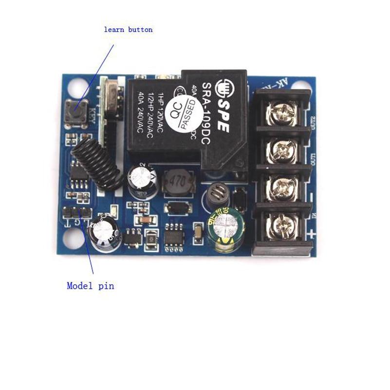 Sleeplion 12V-48V 48V 36V 24V 12V Relay 1CH Home Wireless Switch Transmitter Lamp Lights ON/OFF