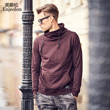 Enjeolon brand Long Sleeve high collar Sweatshirt Men Hooded Black casual Sweatshirt Men Hoodies Solid Pullover Clothing WY105(China)