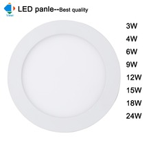 4x led panel light high lumens 3w 4w 6w 9w 12w 15W 18W 24W round plan ceiling recessed downlight Ac 86-265v office home lighting