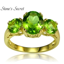 3.92ctw Round And Oval Manchurian Peridot 18k Gold Over Silver Ring