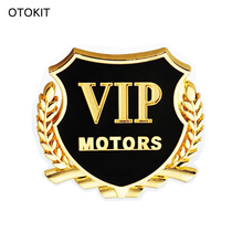 OTOKIT Brand New 2pcs/set VIP MOTORS Metal Car Chrome Emblem Badge Decal Door Window Body Auto Decor DIY Sticker Car Decoration