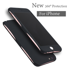 New 360 Degree Full Body Protection Cover Case For iPhone 7 6 6S Plus Case Front Clear Glass Film Back Cover For Iphone7(China)