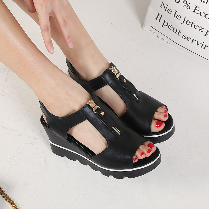 Fashion 2017 new summer wedges platform sandals women Black and White open toe high heels female gladiator shoes Free shipping<br>