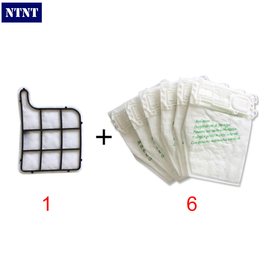 NTNT 6x Vacuum Cleaner Dust Bags and 1x Hepa filter Fit for Vorwerk VK135 136 Delotor VK369<br><br>Aliexpress