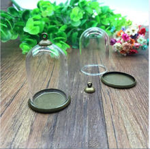 20sets/lot 38*25mm bell jar shape glass globe setting base 8mm cap set glass cover vial pendant jewelry findings handmade