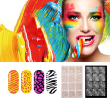 3 Sheets/lot Nails Vinyls Hollow Irregular Grid Stencil Reusable Nail Stickers Stamping Template Nail Art Tools Sticker M03267