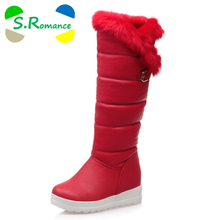 S.Romance Plus Size 34-42 Women Boots Fashion Round Toe Knee-High Snow Boots Winter Boot Women Shoes Black White Red SB802