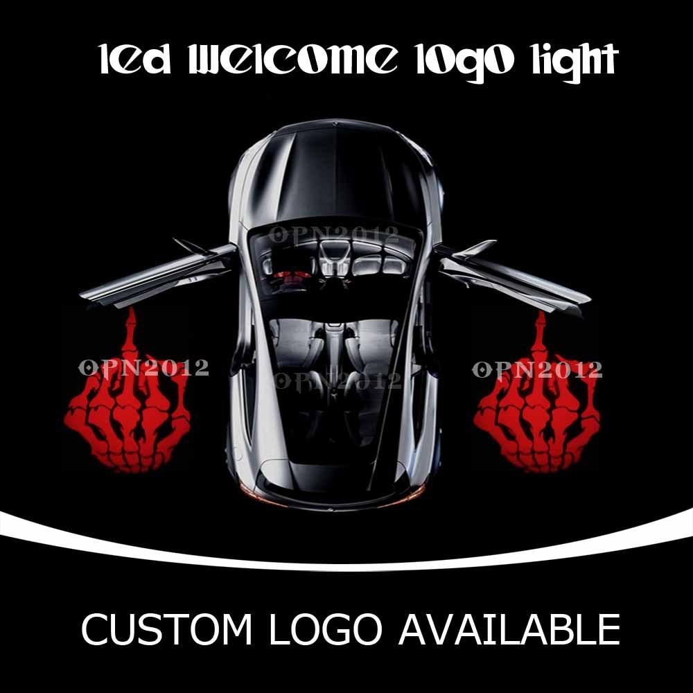 Car Door LED Projector Logo Laser Ghost Shadow LED Welcome Lights Skeleton Middle Finger For CHEVROLET VW DODGE 2233 Red<br><br>Aliexpress
