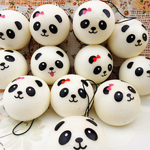 4CM Cute Jumbo Chubby Black White Panda Bread Phone Pendant Soft Panda Squishy Head Charms Cell Phone Strap Bag