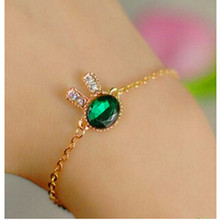 2016 Fashion Jewelry Cute Bunny Rhinestone Charm Bracelets & Bangles Blue Glass Bracelets For Women Gift Pulseira Feminina