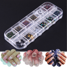 12 Boxes/set Sequins Nail Rhinestones Colorful Crystal Mixed Size Nail Studs Manicure Nail Art Ornaments Rhinestones Decorations
