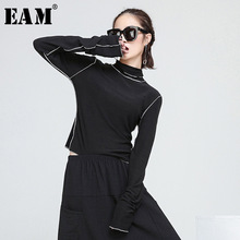Buy EAM 2018 new spring high collar long sleeve ruffles split joint slim knitting solid color T-shirt women fashion tide JE27101 for $11.31 in AliExpress store