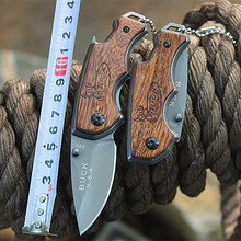Outdoor Folding Knife 440 Stainless Steel Camping Hunting Knives with Yellow Sandalwood Handle Pocket Jackknife High Quality
