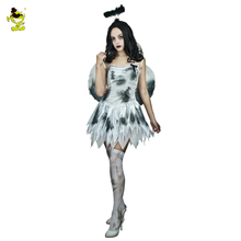 2017 Adult Sexy Hot Brige Costume With Wings Halloween Zombie Corpse Scary Bride Fancy Dress  Costumes For Cosplay