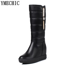 YMECHIC Women Winter Boots Snow Shoes High Heel Wedges Warm Mid High Lady's Snow Boots 2017 Casual Street Fur Boot White Black