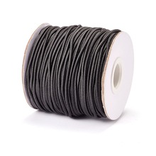 Round Elastic Cord, with Nylon Outside and Rubber Inside, Black, 2mm; 40m/roll(China)