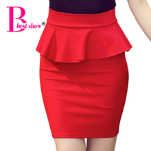 Plus Size Women Pencil Skirts Ruffles 2017 Summer Fashion Korean Casual Ladies Bodycon Skirts Elegant Open Slit Skirts Red Black