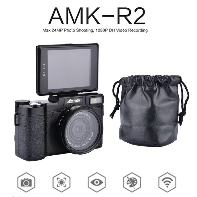 "AMKOV AMK-R2 3.0"" TFT LCD 1080P HD 24MP Digital SLR DV Recorder Camera+Wide-angle Lens Free shipping(China (Mainland))"