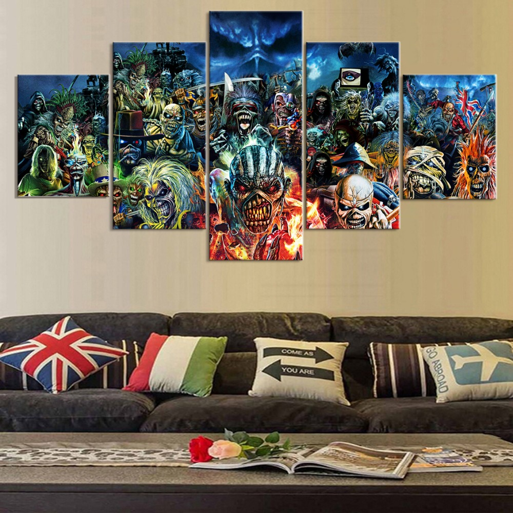 5 Piece Print Poster Iron Maiden Band Paintings on Canvas Wall Art for Home Decorations Wall Decor Unique Gift Wall Picture