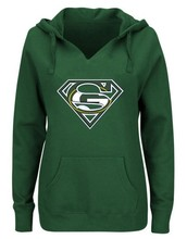 Women's Winter Packers Fans Hoodies, New Design Green Bay Sweatshirts Superman S Logo Picture Print Fashion Tops V-neck Pullover(China)