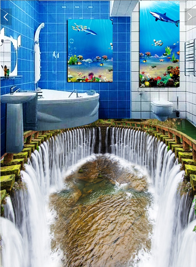 3 d pvc flooring custom wall paper sticker The waterfall water pool 3d bathroom flooring paintings photo 3d wall mural wallpaper<br>