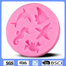 3D silicone fondant mold crab seahorse dolphin starfish shape cake decorating tools augar art CD-F511