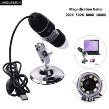 JINGLESZCN New Mega Pixels 8 LED USB Digital Microscope Endoscope Camera Electronics Microscopio Magnifier 1000X 800X 500X 200X(China)