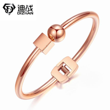 New Arrival Personality Ball Cube Geometric Shape Spring Stainless Steel Bangle For Women Titanium  Steel Bangles Jewelry