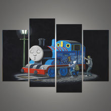 4 Pcs/Set Banksy Art Graffiti On Thomas The Train cartoon printed wall paintings home decor picture