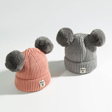 Dual Ball Knitted Baby Caps Boys Girls Toddler Crochet Beanie Baby Hat Cute Children Caps(China)