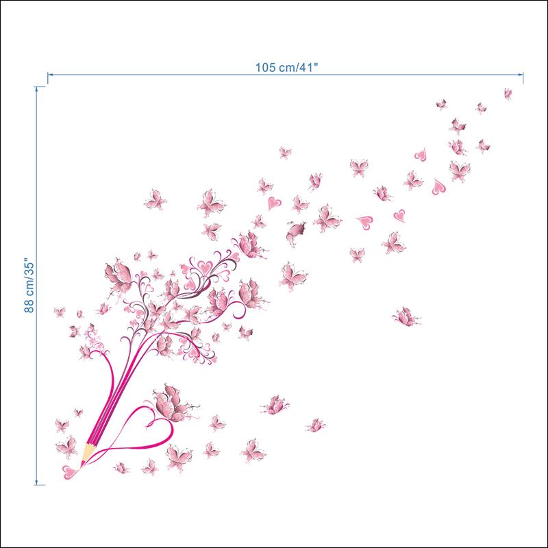 HTB1NiVcpfiSBuNkSnhJq6zDcpXat - Flying Pink Butterfly Flower Blossom Pencil Tree Wall Sticker