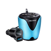 HSC-200B 2.1A Car Charger Dual USB Adaptor With Voltage Current Display Charger Car Cup Holder 3 socket Cigarette lighter(China)