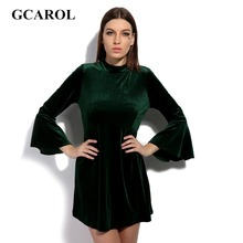 GCAROL 2017 Women Velvet Flare Sleeve Dress High Waist Fit And Flare 3/4 Sleeve Sexy Retro Velvet Dress Smooth Euro Style Dress