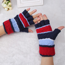 Fashion New Listing Jacquard Knitting Fingerless Gloves Children Women Half Finger Glove Gift Computer Keyboard Warm Gloves(China)