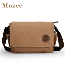 Muzee men messenger bags school canvas single shoulder bags crossbody bag for traveling ME_8899D(China)