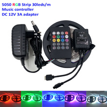 5M Flexible Music RGB Led Strip light 5050 30Leds/M Light led Tape New Decorate ip20 IR Music Remote Controller 12V 3A Power