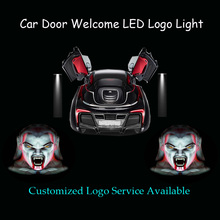 2x Halloween Horrible Ghost Head Logo Car Door Welcome Shadow Spotlight Laser Projector LED Light (1286)(China)