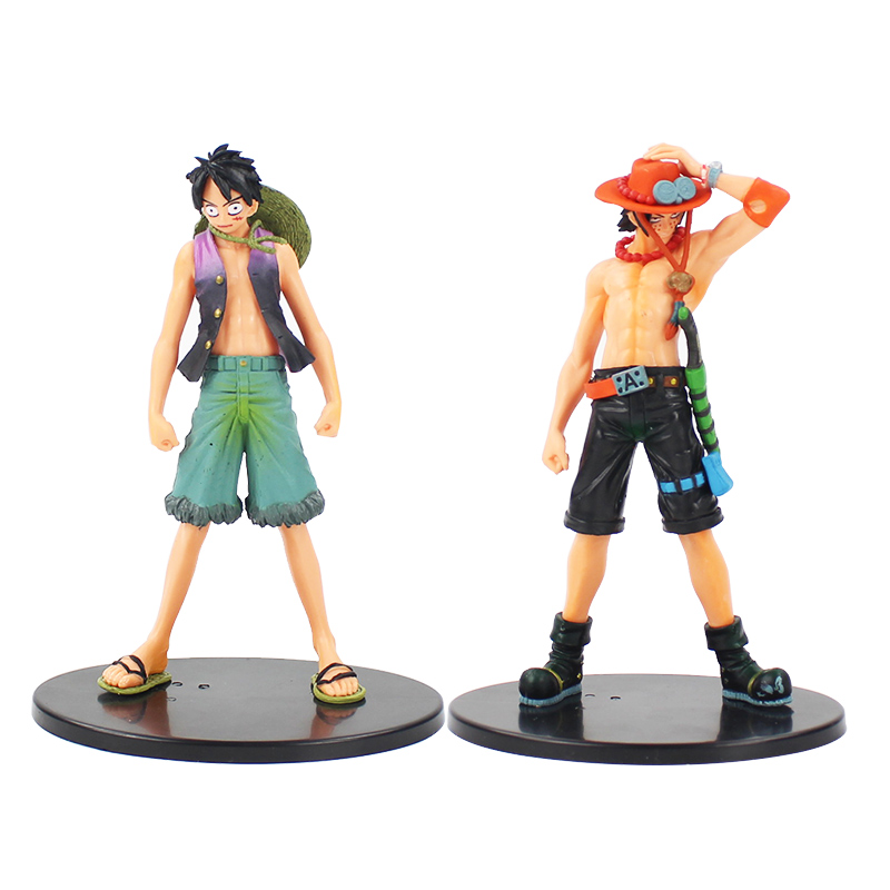 2 pcs Anime One Piece Monkey D Luffy And Brother Ace PVC Action Figure Toys