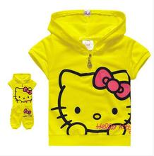 2016 free ship Children's Clothing Set cute hello kitty kids short sleeve T-shirt + pants children/kids suit, kids clothes(China)