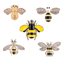 Christmas Gifts Korean Fashionable Mini Cute Little Bee Insects Brooch Pin Female Accessories Factory Direct 5 pieces/lot(China)