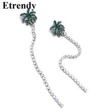 Vintage Coconut Tree Design Rhinestone Long Earrings For Women Personality 2017 Fashion Jewelry Wholesale Gifts