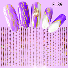 1 Sheets Gold Silver Stripe Tape Line Nail Glitter Designs 3D Nail Art Adhesive Sticker Laser DIY Beauty Foil Decal TRF137-144(China)