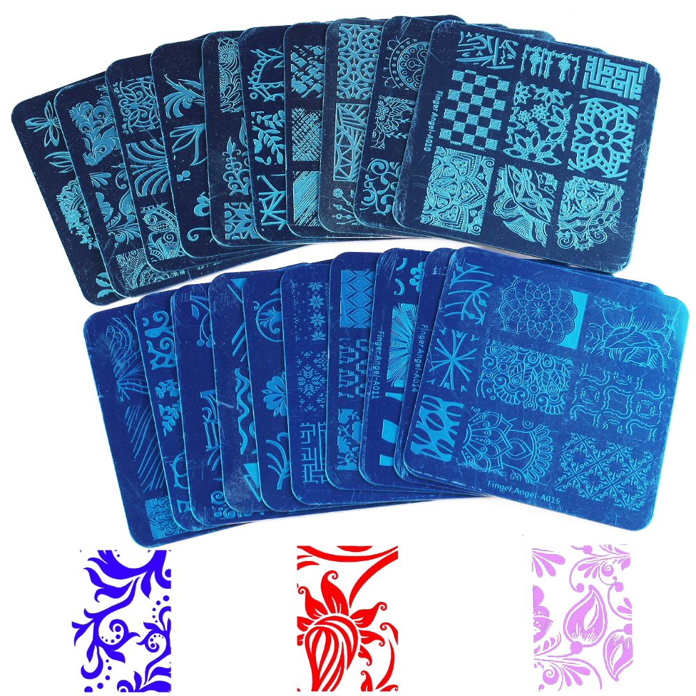 Finger Angel 20PCS Mix Patterns Stamping Nail Art Plate 6x6cm Image Plate Manicure Stencils Nail Art Stamping Tools #WJ026(China)