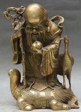 "zhmui88002841814++8"" Chinese Fengshui Brass Longevity Star Crane Bird Ride Tortoise Turtle Statue(China)"