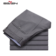 Seven7 Classic Dress Pants Men Formal Business Wedding Grey Suit Pants Casual Slim Fit Male Cotton Trousers Plus Size 702B720787(China)